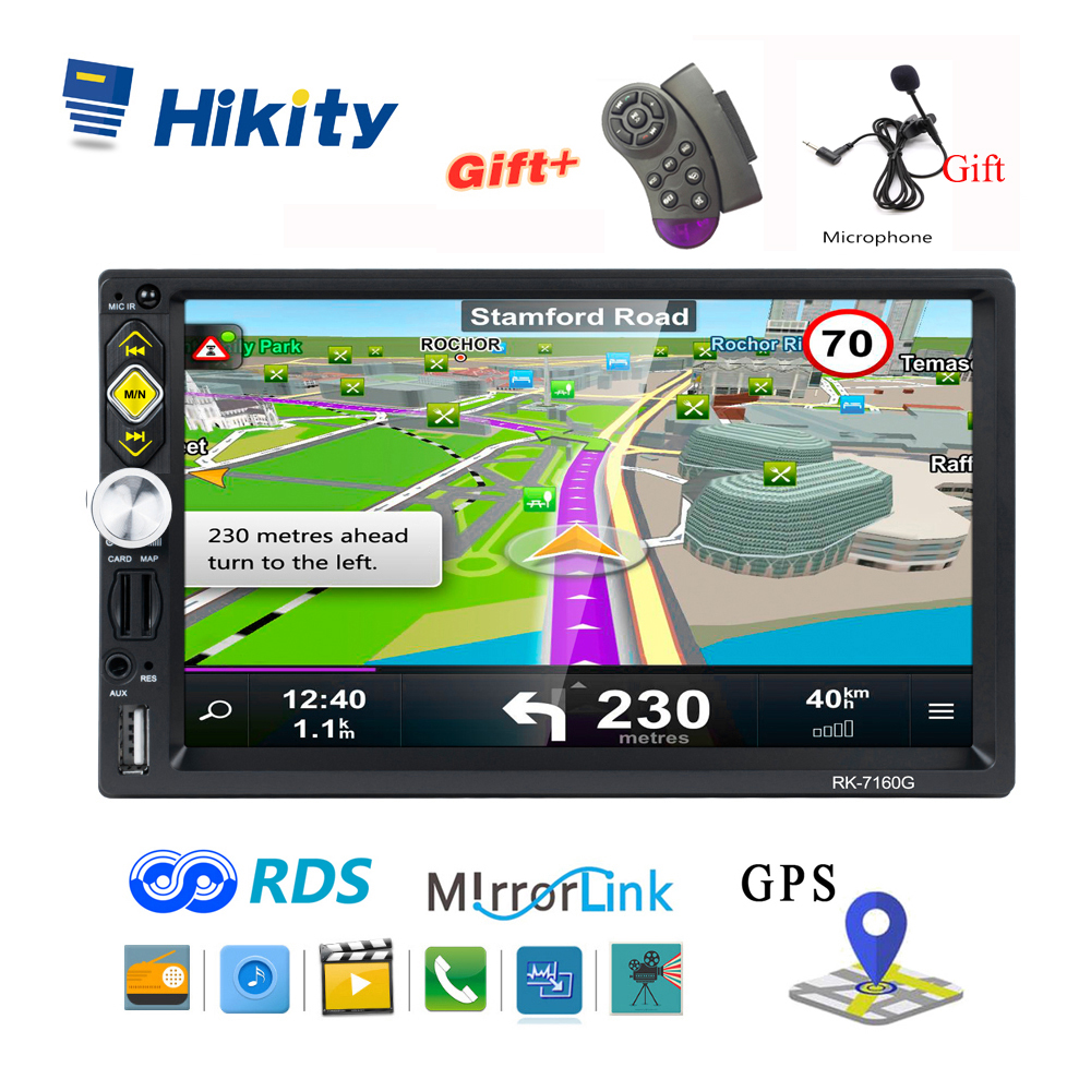 Hikity 2 din GPS Car Radio 7 HD RDS Car Stereo IOS Android Mirror Link Steering