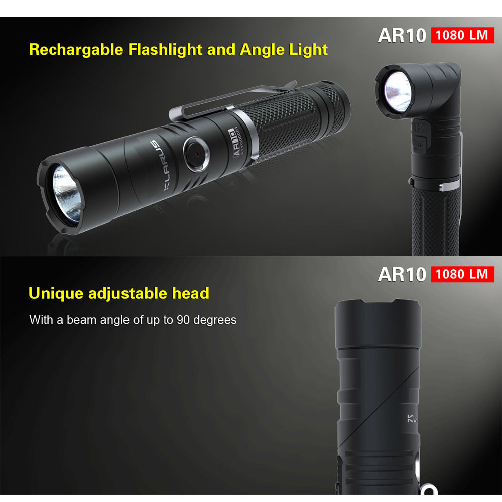 KLARUS AR10 Rotation LED Flashlight Torch Searching Camping Rechargeable Lantern Light CREE XM-L2 U2 1080 Lumens 18650 Battery led tactical flashlight 501b cree xm l2 t6 torch hunting rifle light led night light lighting 18650 battery charger box