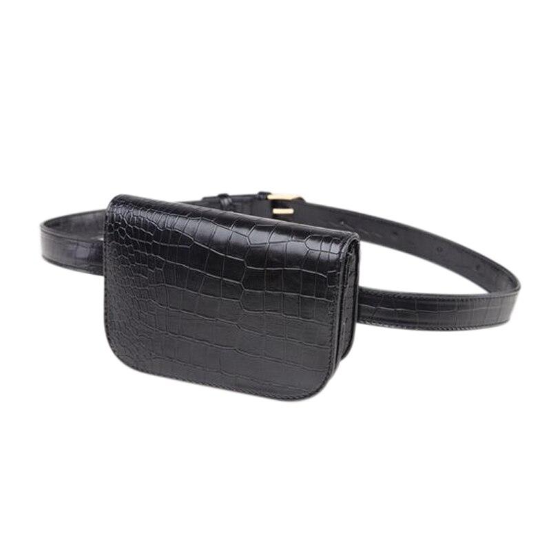 HEBA-Fashion Women Waist Bag Phone Pocket Alligator Leather Waist Pack Adjustable Belt Bag(Black)