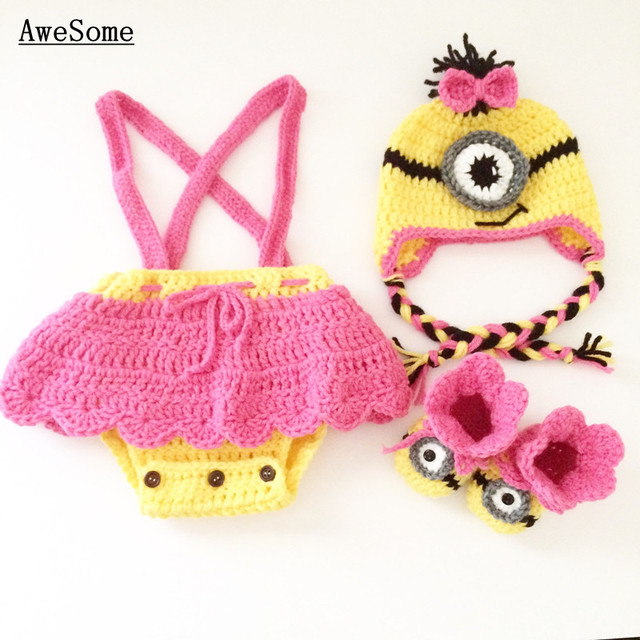 Free Shipping Minion Despicable Me Inspired Baby Girls Costume Pure