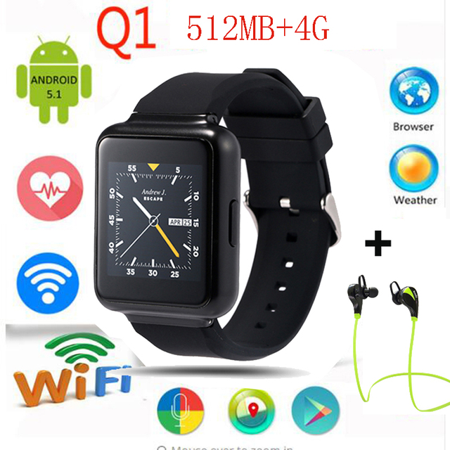 "Lemse Q1 Smart Watch phone MTK6580 quad core Android 5.1 OS 1.54 ""дисплей WiFi GPS 3 Г Mp3 Bluetooth Sim Smartwatch телефон"