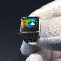 Настоящие хорошие драгоценности 925 Стерлинговое Серебро s925 Platinum 100% настоящий аммонит Кольца с полудрагоценными камнями Мужская кольцо для