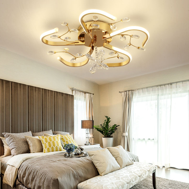 Nordic Self-indulgence Crystal Chandelier and Ceiling LED Bedroom Ceiling Lamp Minimalism Art Indoor Landing Living Roon Fixtures Set fire ti.