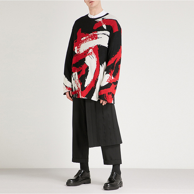 Double men's trouser skirt pants and nine-point tapered bobbin trousers, deconstructed vertical cut yohji spring pants.  S-9XL!! 4