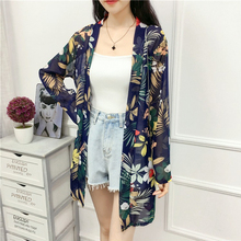 все цены на Lady Chiffon beach cape Casual Tunic Floral Print Otransparente Boho Cardigan Women Summer long Sleeve Kimono 2019 Plus Size Top онлайн