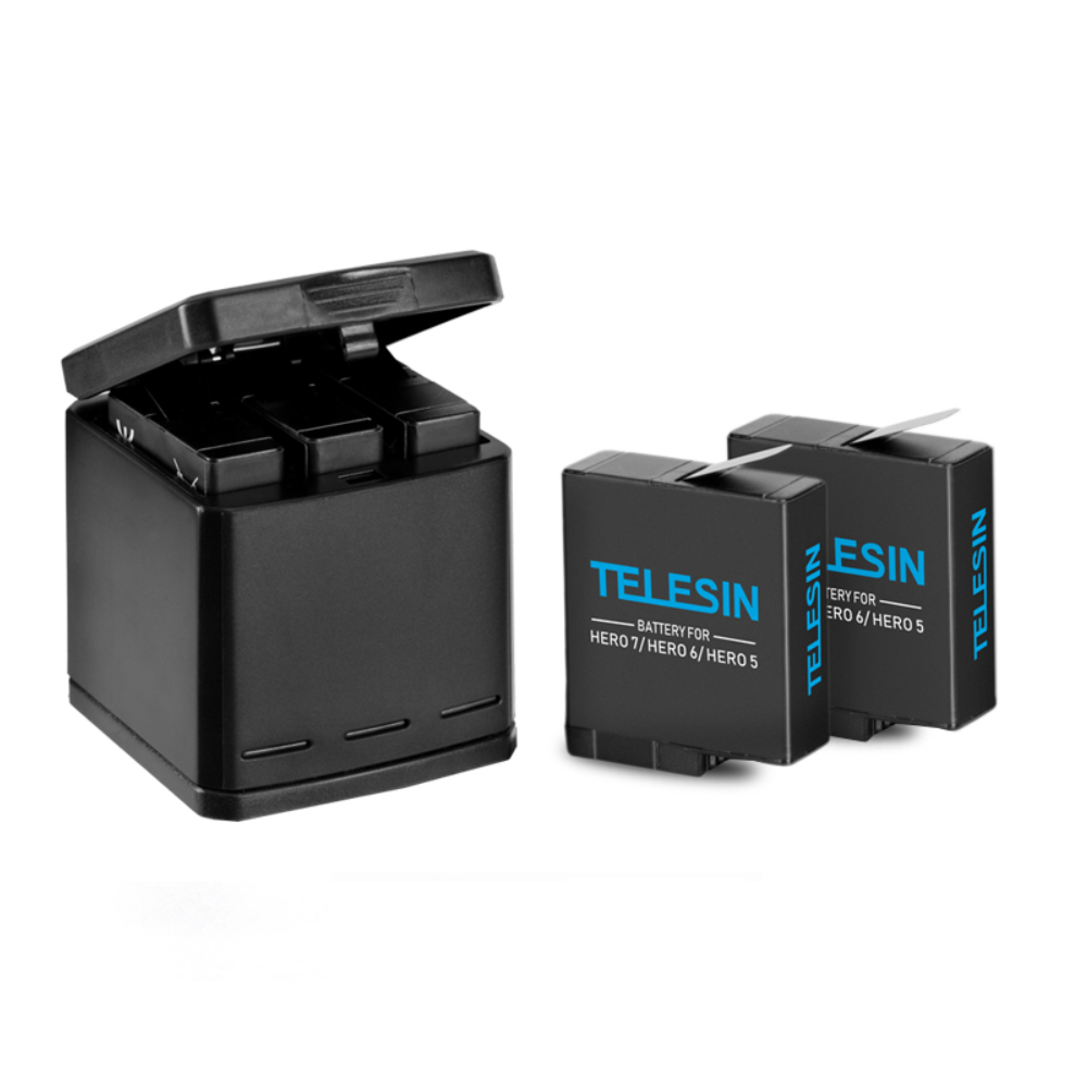 Image 2 - TELESIN 3 way Battery Charger and 3 Batteries Kit, Charging Storage Box with Replacement Battery for GoPro Hero 7 Black Hero 5 6-in Sports Camcorder Cases from Consumer Electronics