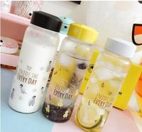 Creative Trend Portable Glass Water Bottle Cute Cartoon Male And Female Students Tropical Cap Small Fresh