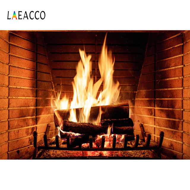 Laeacco Brick Burning Fireplace Warmly Scene Newborn Photography