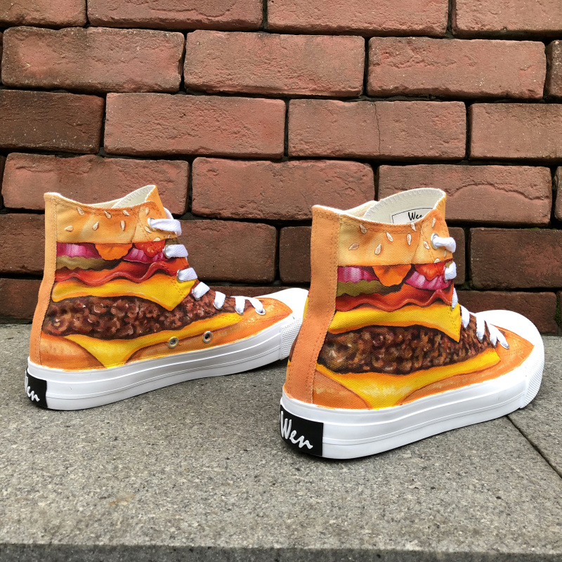 Wen Hand Painted Athletic Shoes Design Delicious Hamburger Patty High Top Canvas Sneakers Women Shoes Men Skateboarding