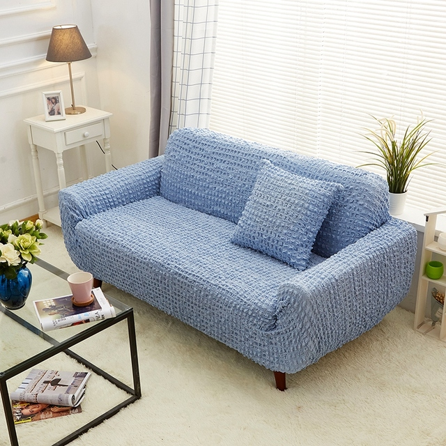 TUTUBIRD Japanese Style Bubble Stretch Tight Couch Cover Sofa Cover Solid  Simple Knitted Fabric Anti