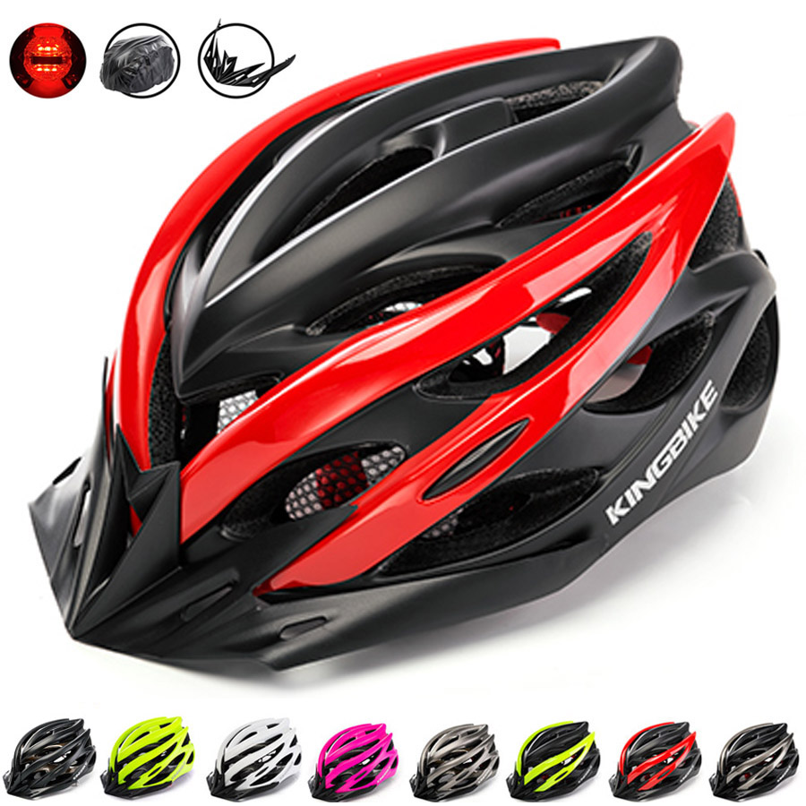 KINGBIKE 2018 NEW Cycling Helmet Road Bike Ultralight Mountain In-mold Bicycle Breathable Helmets With Tail Lights Visor Helmets