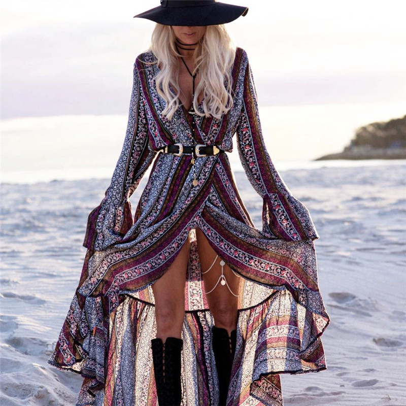 Bohemian Style Boho Print Split Maxi Dress V Neck Long Sleeve Loose Beach Sundress Vestido For