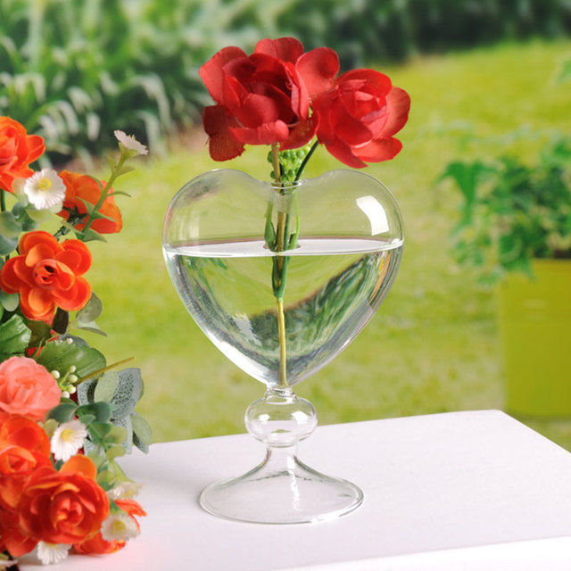 Glass Flower Pots Planter Heart Glass Vase Standing Home Decoration