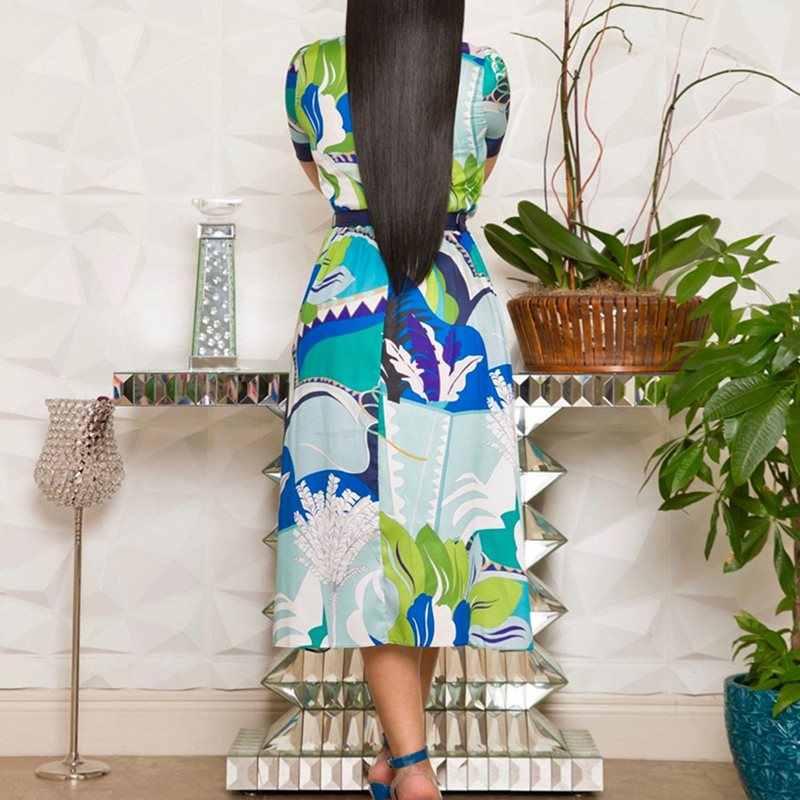 Винтажное элегантное платье размера плюс вечерние синие летние женские платья миди с высокой талией с принтом и бантом в стиле ретро шикарное женское модное платье в африканском стиле
