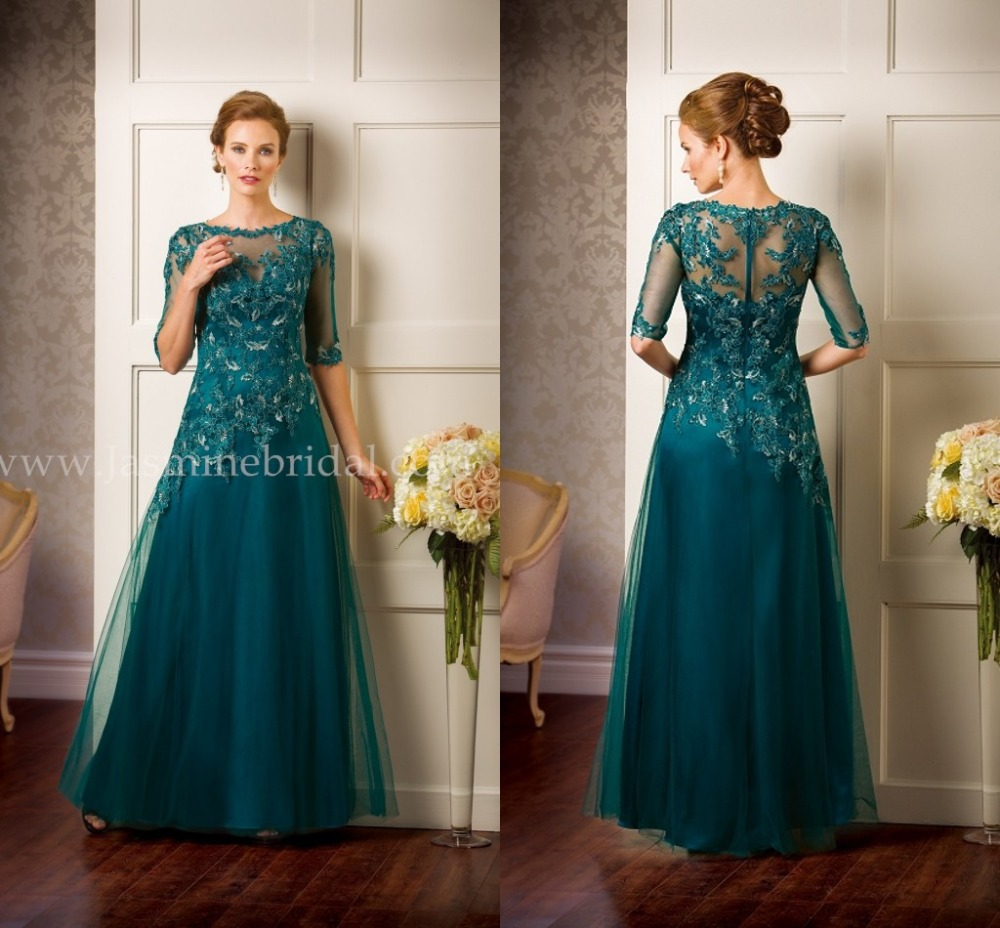 2015 Evening Dress Teal Plus Size Custom Made Crew Neck Cap 1/2 Sleeve Applique Long Tulle Lace Mother Of The Bride Dress LA0916
