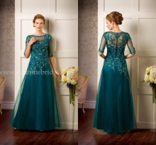 цена на 2015 Evening Dress Teal Plus Size Custom Made Crew Neck Cap 1/2 Sleeve Applique Long Tulle Lace Mother of the Bride Dress LA0916