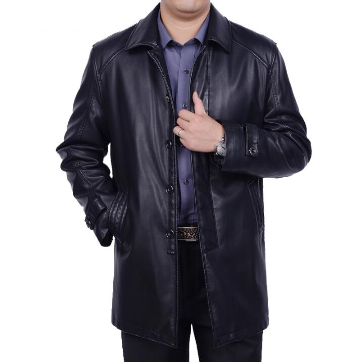 Hot Mens Winter New plus Size Genuine leather jacket Men long Business casual jackets male leather clothes trench Coat S-4XL