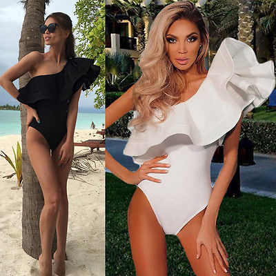 Women Sexy One Shoulder Ruffled Bodysuit Swimwear Jumpsuit One Piece Monokini Bathing Swimsuit Beach Wear