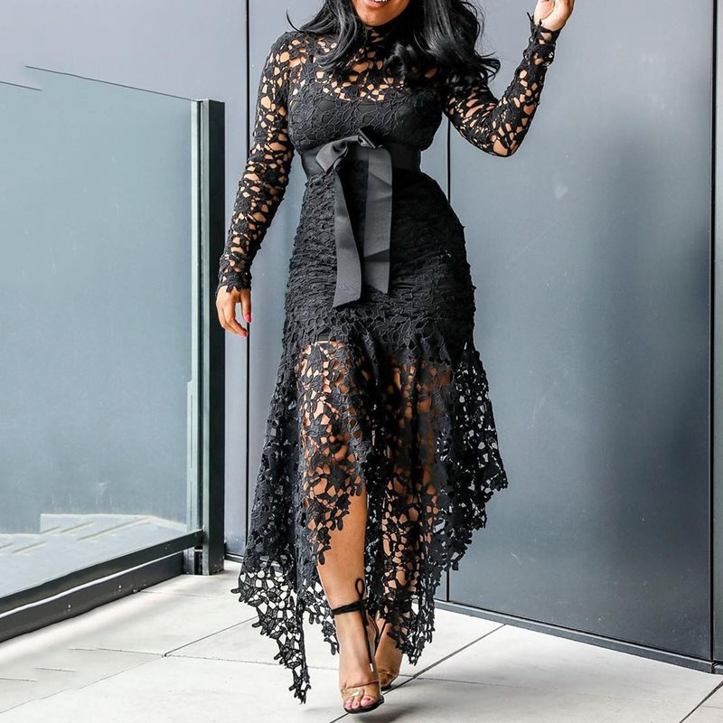 Women Party <font><b>Sexy</b></font> Black Lace Long <font><b>Dress</b></font> Plus Size Big Size S-<font><b>3XL</b></font> Mesh Ladies <font><b>Dress</b></font> Hollow Bodycon Blue African Large Maxi <font><b>Dresses</b></font> image