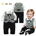 Baby Suits For Weddings 2016 New Wedding Suits For Baby Boys Gentleman Ropa Para Bebes Newborn Baby rompers Handsome Clothes