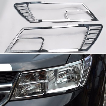 Chrome Front Head Light Lamp Cover Trims For Dodge Journey 2011 2012 2013 2014 [QPA366]