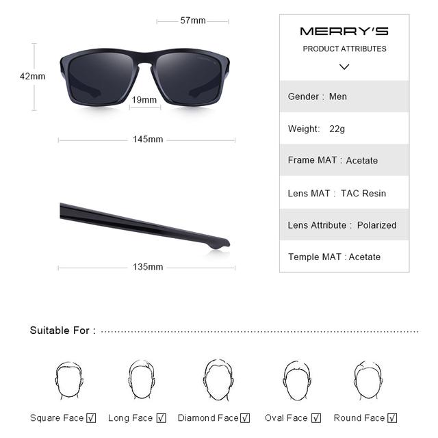 Men's Square Shaped Classic Polarized Sunglasses