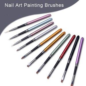Умные женские кисти для дизайна ногтей, 10 шт. в наборе, ручка для рисования, для рисования, для раскрашивания, УФ, Цветной Гель-лак, для украше...