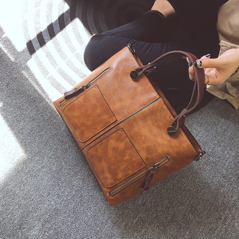 Casual Women Brand Large Tote Bag 2017 Designer Handbags Brown PU Leather Messenger Bags Ladies Female Business Shoulder Bags 2017 new brand shoulder bag large fashion women bag ladies hand bags luxury designer handbags women messenger bags casual tote