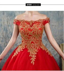 Image 5 - 8 שכבות שחור לבן כחול אדום רומנטי בציר זהב תחרת אפליקציות חתונת שמלות בתוספת גודל כלה שמלת סירת צוואר כבוי כתף