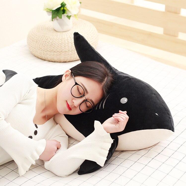 Gros doux créatif en peluche noir requin jouet belle requin oreiller poupée cadeau environ 95 cm