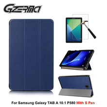 купить For Samsung Galaxy TAB A 10.1 P580 With S Pen Magnetic Flip Protective Shell Stand Cover Case Smart Tablet Cases Cover+Film по цене 526.91 рублей