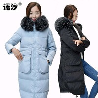 Maternity clothes MOM winter pregnant racoon fur collar 70% white duck down warm Coat parkas Hoody Long Style Pregnant clothes