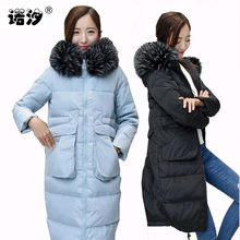Maternity clothes MOM winter pregnant racoon fur collar 70% white duck down warm Coat parkas Hoody Long Style Pregnant clothes(China)