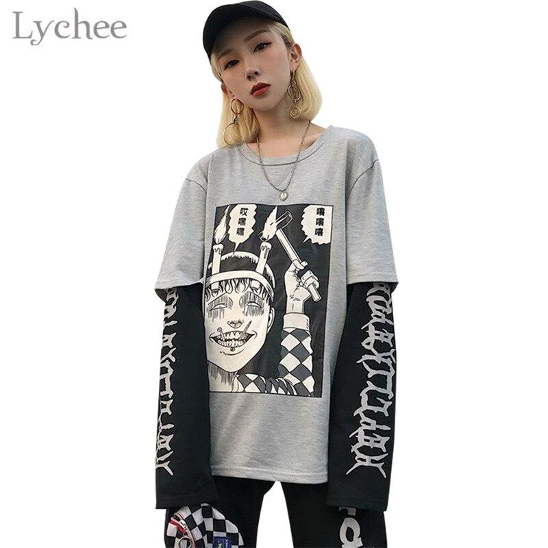 Lychee Harajuku Japanese Junji Ito Anime Print Women T-Shirt Fake 2 Pieces O-Neck Long Sleeve Casual Loose Female T-shirt