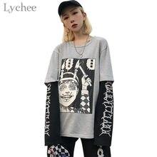 Женская футболка Lychee с японским аниме принтом Junji Ito в стиле Харадзюку, Повседневная Свободная футболка из 2 частей с круглым вырезом и длинн...