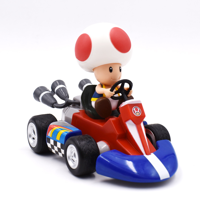 Super Mario Bros Figures 13 cm Kart Pull Back Car Pvc