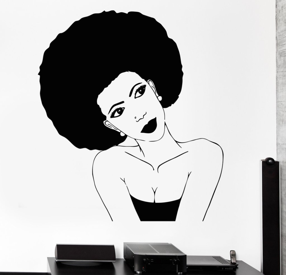 Afro Hairstyle Vinyl Wall Stickers Black African Woman Hair Stylist Salon Beauty Sticker Personality Design Wallpaper  SA252