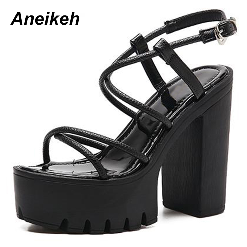 Aneikeh Fashion Summer Sandals Women Shoes Heels 2018 New Arrivals Sexy  Cut-outs Open Toe 3d58a2526a32