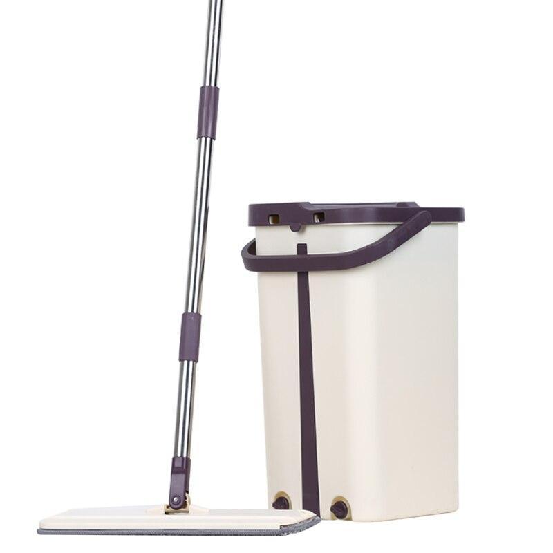 Бесплатная Ручная стирка Швабра для простой очистки & Bucket Dusting скребок Magic Cleaner плоский самоотжимание Squeeze двухсторонний Сухой & ведро
