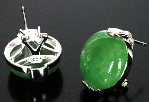 Fashion New 925 Sterling Silver Natural Green Jade Earrings 5.29