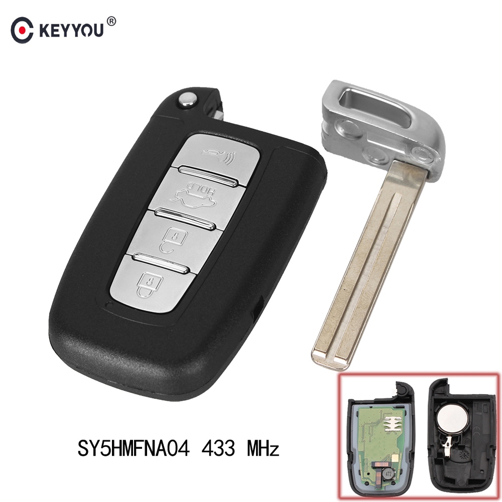 KEYYOU Smart Remote Control key Keyless Entry Fob 4 Button 433MHz With ID46 Chip for Hyundai I30 IX35 SY5HMFNA04 fuzik keyless go smart key keyless entry push remote button start car alarm for honda accord odyssey crv civic jazz vezel xrv
