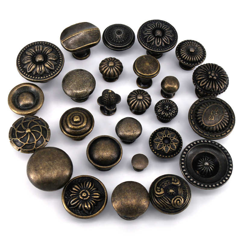 1x Zinc Alloy Kitchen Cupboard Door Antique Handles Cabinets Furniture Hardware Vintage wooden Box Drawer Knobs Pulls