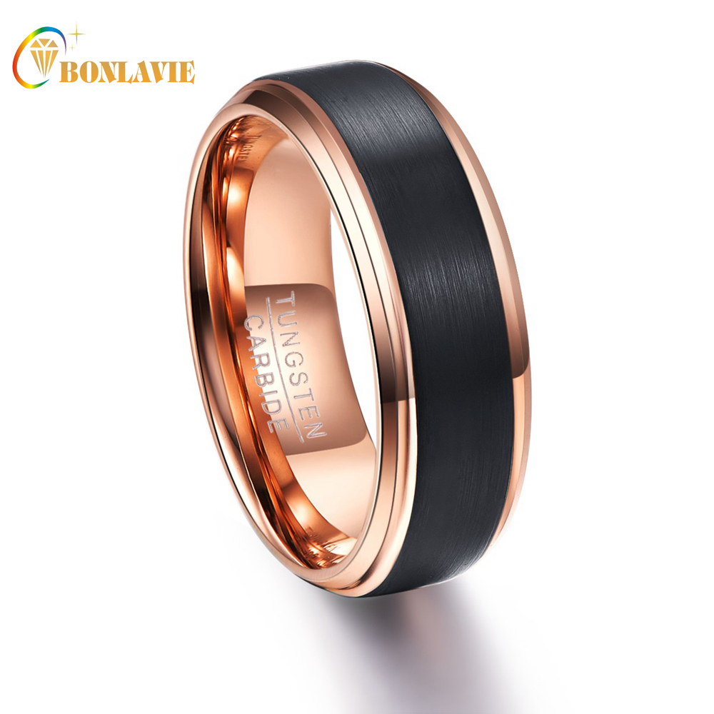 Party Ring Round Rose Gold Black Men Rings Tungsten Carbide Wedding Bands Anillos para hombres Male Ring