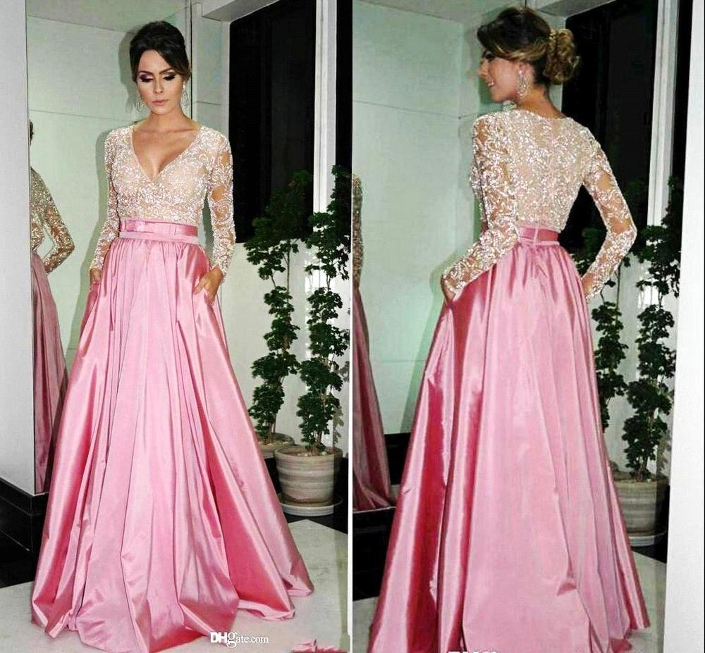 Hot Sale 2015 Arabic A-line V-neck Long Sleeve Pink Satin Beaded Lace Evening Dresses Dubai Kaftan Fornal Gown