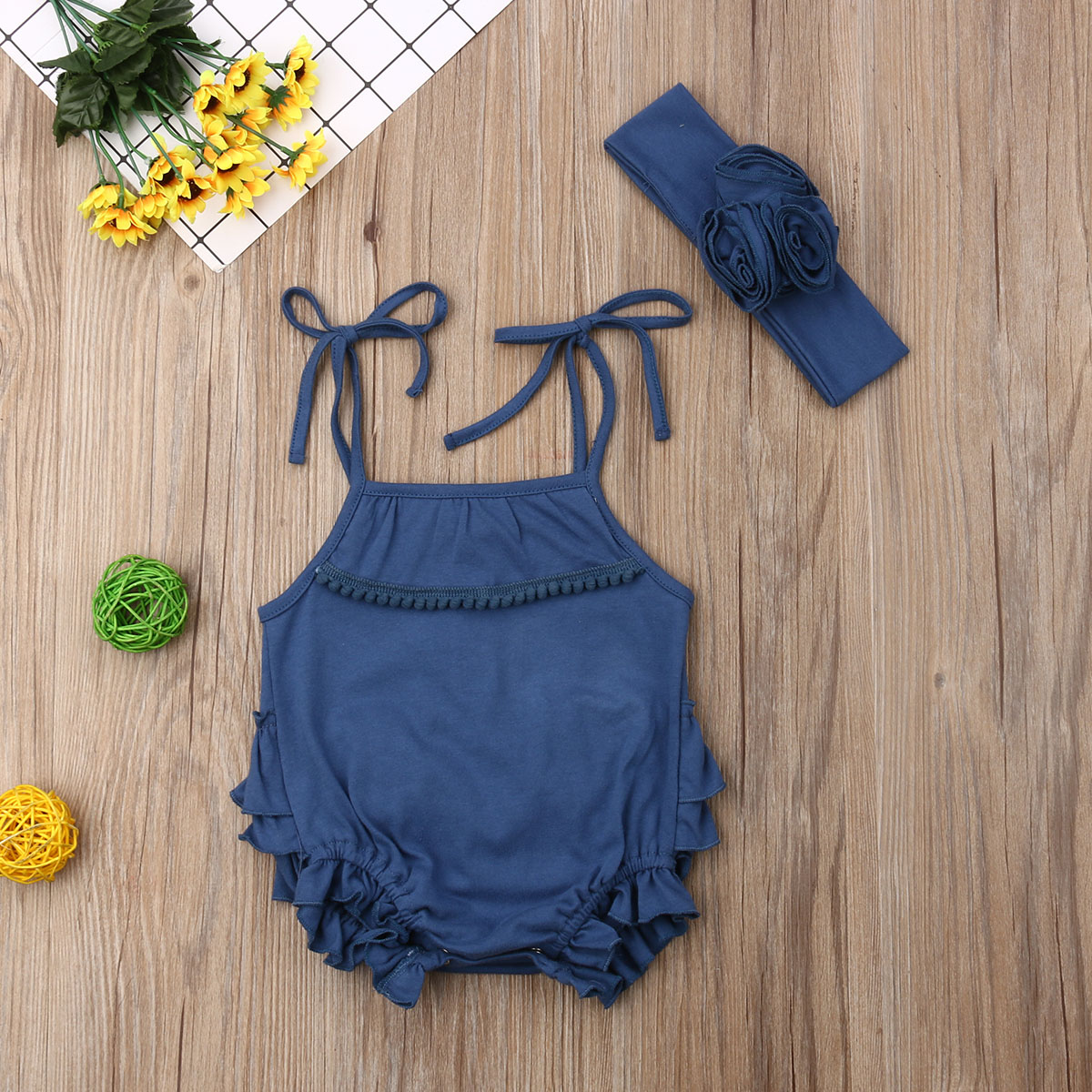 2Pcs Newborn Baby Girls Camisole Bodysuit Jumpsuit Headband Outfit Sunsuit Clothes