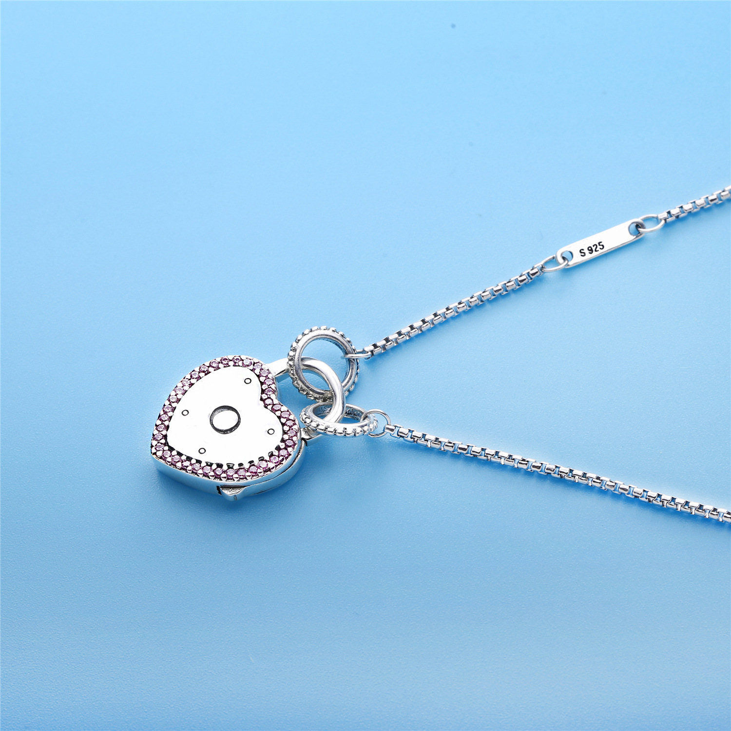 Valentine's Day 925 Sterling Silver Pendants Lock Your Promise Panodra Necklace, Fancy Fuchsia Pink Original Charms European fancy nancy pajama day level 1
