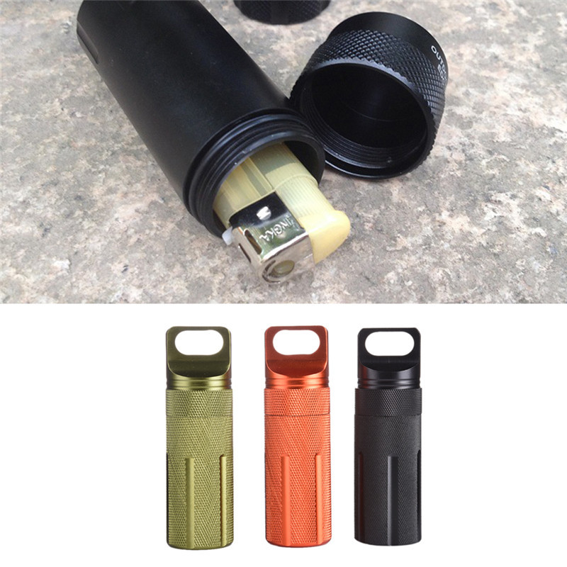Outdoor Survival Waterproof Tank Medicine Pill Bottles Mini Portable EDC Box for Storage Camping Hiking Gear Container Holder