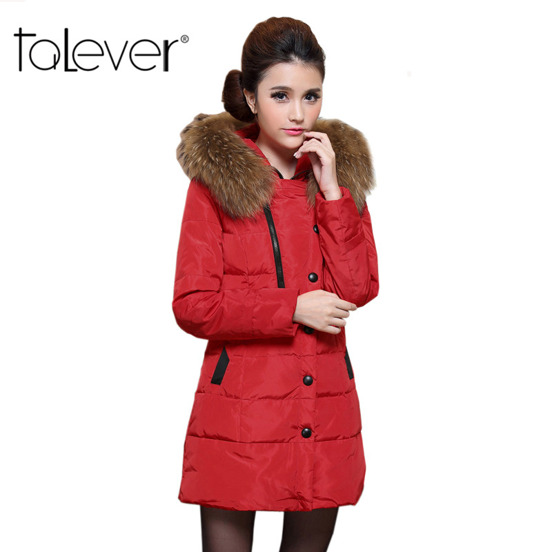 Talever Winter Women's Parkas Jacket Solid Winter Thick Jackets Hood With Fake Fur Long Cotton Coat Female Outwear Plus Size 2017new winter parkas slim women long large fur collar jackets coat female thick warm cotton hood parkas plus size outwear a003