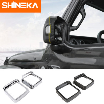 SHINEKA Mirror & Covers Car Rearview Mirror Rain Eyebrow Decoration Frame Trim Stickers For Jeep Wrangler JL 2018+ Accessories shineka car sticker for jeep wrangler jl accessories rearview mirror carbon fiber chrome decoration sticker for wrangler 2018