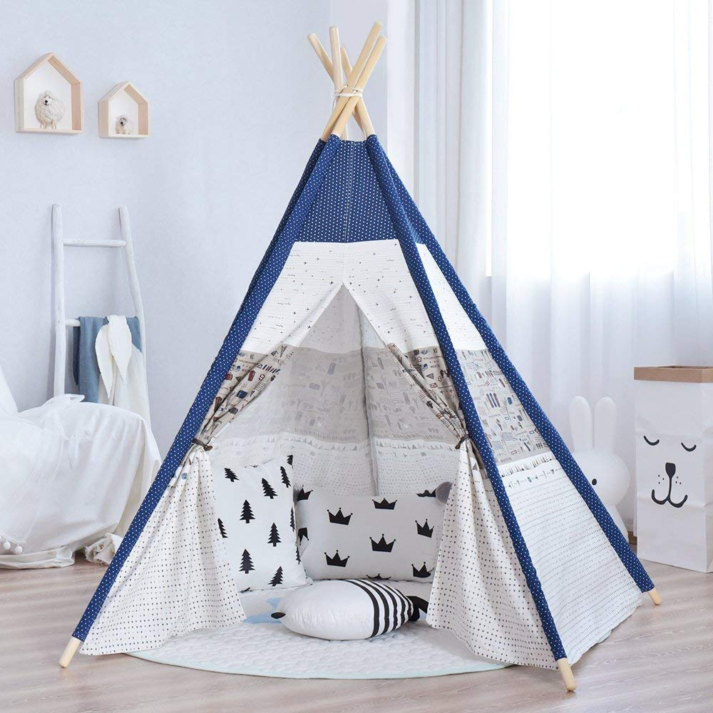 5-Pole Cotton Linen Kids Teepee Tent Kids Indian Tipi Tent Playhouse Kids Wigwam tipi tent for kids childrens tipi wigwam tent page 8